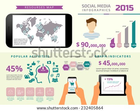Template infographics elements for social media presentation with tablet pc and smartphone. Text outlined. Free font Russo One and Open Sans - stock vector