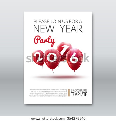 Template invitation new year holiday. Holiday card dedicated to the Christmas and New Year 2016. 3D balloons, red colors, on a white background. Vector illustration  - stock vector