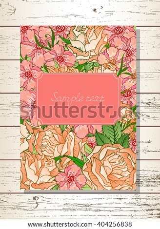 Template invitation or greeting card with hand drawn flowers and roses on a wooden background. In pink colors. - stock vector