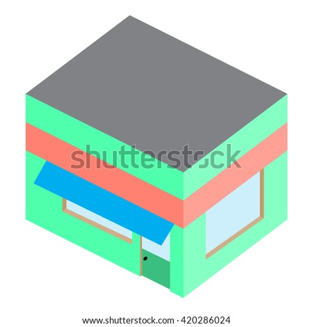 Template isometric building home shop house. Architecture design isometric and construction mockup template. Vector flat design illustration - stock vector