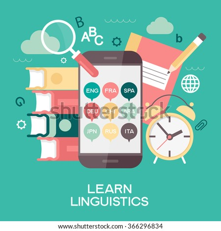 Template Learn Linguistics infographics. Concept for website banners and promotional materials. File is saved in AI10 EPS version. This illustration contains a transparency - stock vector