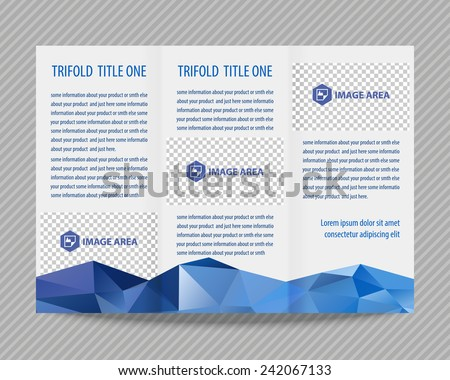 Template light vector design for trifold brochure with colorful polygons. Editable, bright. Proportionally for A4 size