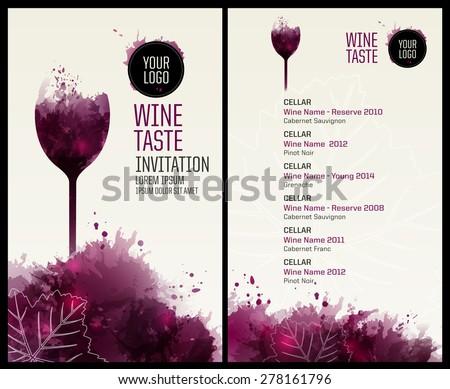 Template list wine tasting illustration glass em vetor stock template list or wine tasting illustration glass of wine background with wine stains stopboris Choice Image