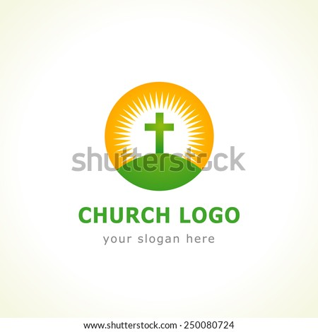 Template logo for churches and Christian organizations cross of Calvary in the sun. Calvary cross church logo - stock vector