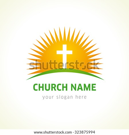 Template logo for churches and christian organizations, cross of Calvary in the sun. Calvary cross and sun church logo - stock vector