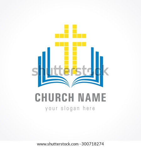 Template logo for churches and christian organizations cross on the bible. Church cross bible logo - stock vector