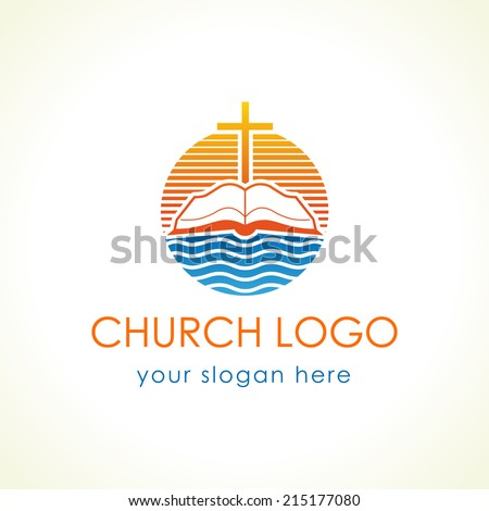 Template logo for churches and Christian organizations cross on the bible. Cross on the bible church logo. - stock vector