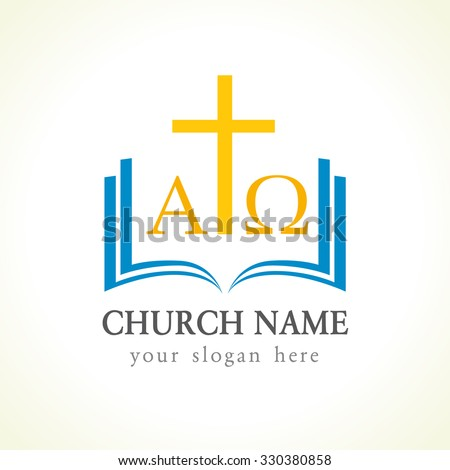 Template logo for churches and christian organizations cross on the bible with alpha and omega symbol. Alpha and Omega church logo - stock vector