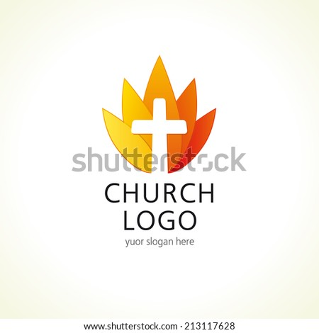 Template logo for churches and Christian organizations in the cross fire. Church cross logo. - stock vector