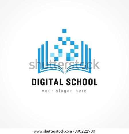 Template logo for distance learning digital technology via the Internet. Digital school logo. Digital icon, digital technology vector, digital logo, learning icon, digital book, open book symbol - stock vector