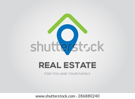 Template logo for real estate agency or cottage town elite class. Real estate logo. - stock vector