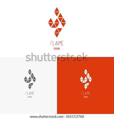 Template logo inspiration for shops, companies, advertising or other business. Vector Illustration, graphic elements editable for design with fire or flame.  - stock vector