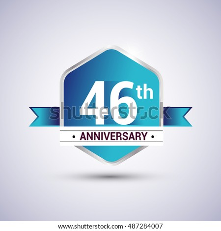 Template Logo 46th anniversary celebration. Blue and silver colored hexagon shape, vector design.