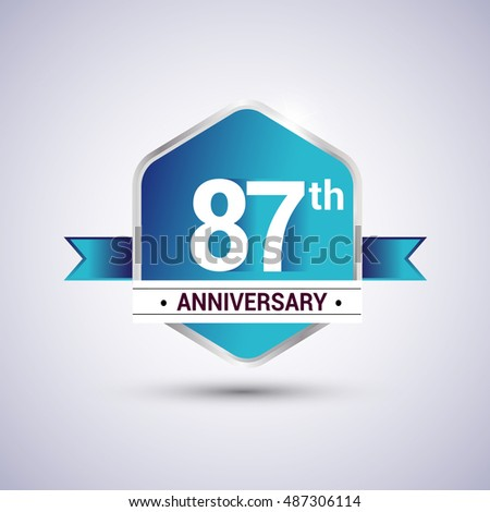 Template Logo 87th anniversary celebration. Blue and silver colored hexagon shape, vector design.