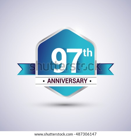 Template Logo 97th anniversary celebration. Blue and silver colored hexagon shape, vector design.
