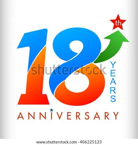 Template logo 18th anniversary color green stock vector 406225123 shutterstock - Color of th anniversary ...
