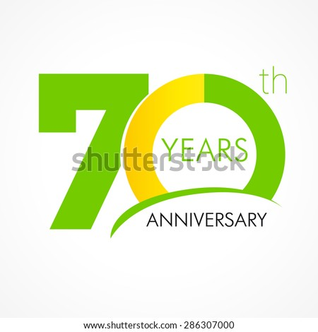 Template logo 70th anniversary with a circle in the form of a graph and the number 7. 70 years anniversary logo
