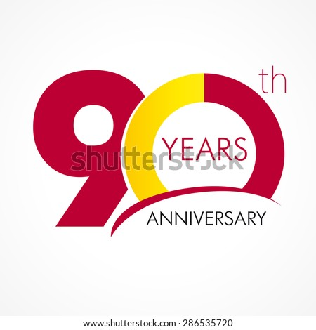Template logo 90th anniversary with a circle in the form of a graph and the number 9. 90 years anniversary logo - stock vector