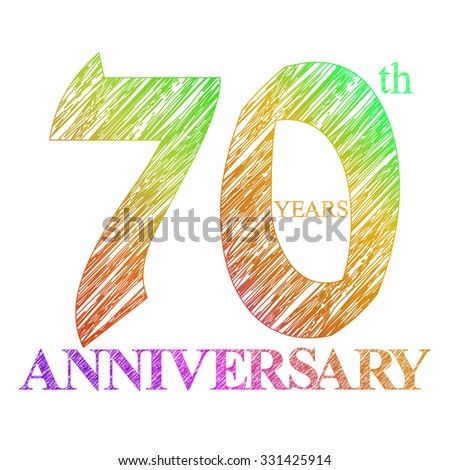 template logo with a circle for anniversary. 70 - stock vector