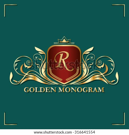 Template luxurious monogram in gold. Elegant emblem for hotels, restaurants, bars, and public institutions. The logo on brochures, presentations, invitation cards. - stock vector
