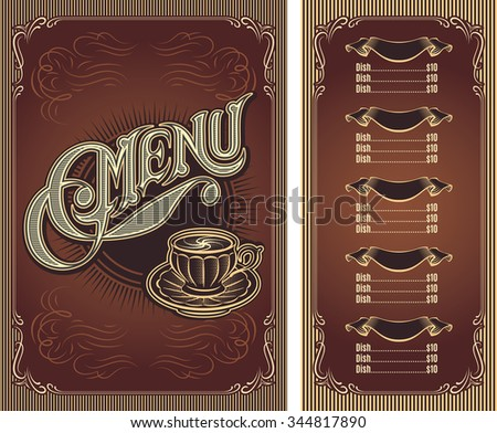 Template menu for hot drinks tea coffee restaurant