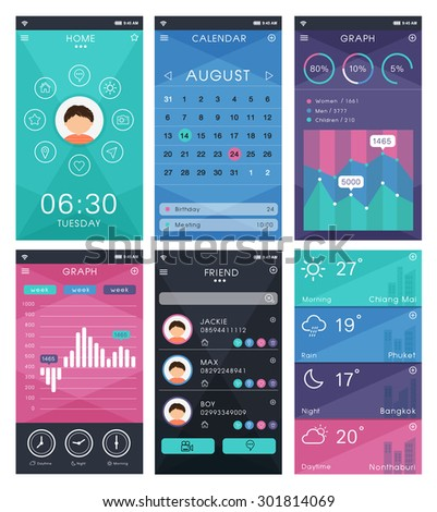 Template mobile app interface design set stock vector 301814069 template mobile app interface design set of flat design elements vector pronofoot35fo Choice Image