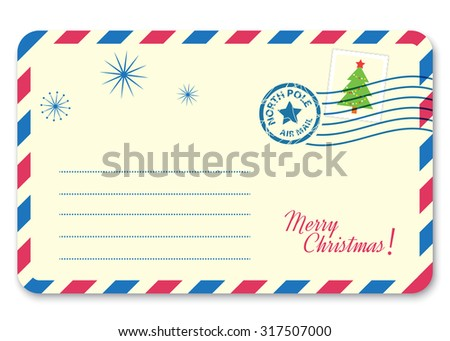 Template New year's letter to Santa Claus with stamp and postage mark. Vector illustration - stock vector
