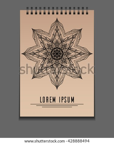 Template notebook on springs with freehand mandala and place for text. Vector element for your design - stock vector