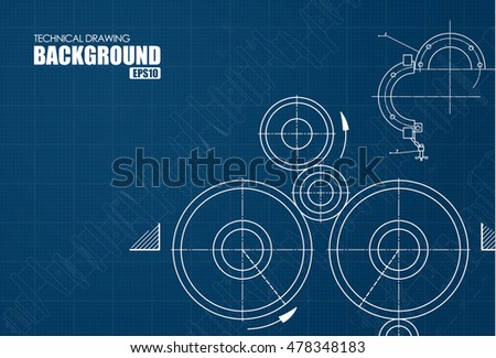 Template of a blue background with technical drawings of gears. Vector illustration