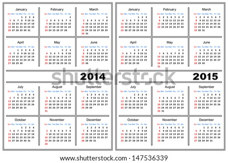 Template Calendar White Color Calendar 2014 Stock Vector 147536339