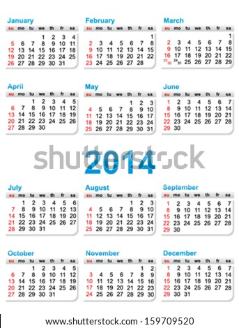 Template Calendar 2014 Year Stock Photo Photo Vector Illustration