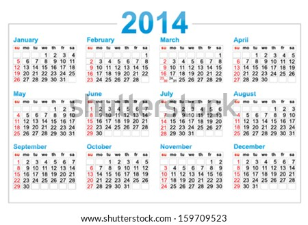 Template Calendar 2014 Year Stock Vector 159709523 Shutterstock