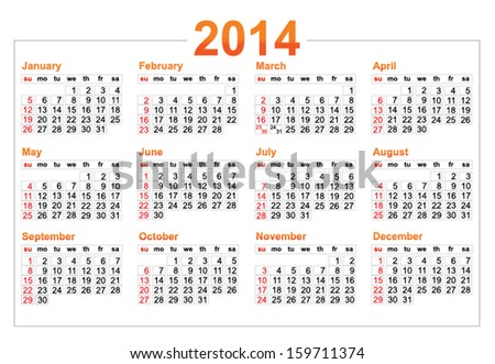 Template of a calendar 2014 year - stock vector
