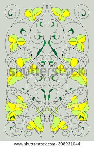 Template of a flower ornament for production of stained-glass windows