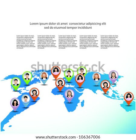 Template of a group of business and office people on the world map. Vector illustration.