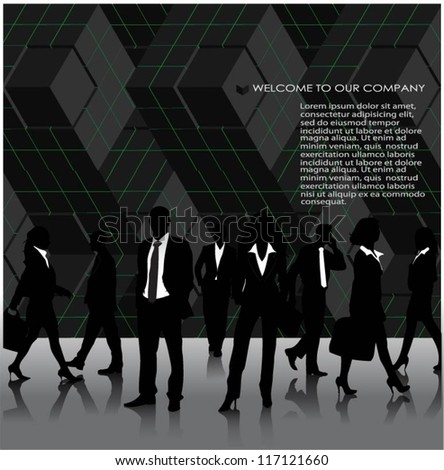 Template of a group of business and office people. Vector illustration - stock vector