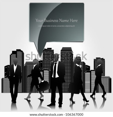 Template of a group of business and office people with city landscape and speech bubble. Vector illustration. - stock vector