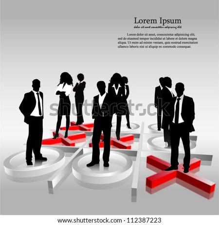 Template of a group of business and office people with 3d tic tac toe. Vector illustration.