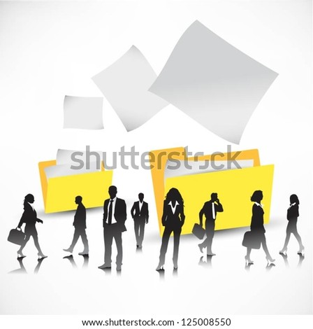 Template of a group of business and office people with folders - stock vector