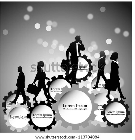 Template of a group of business and office people with gears. Vector illustration - stock vector