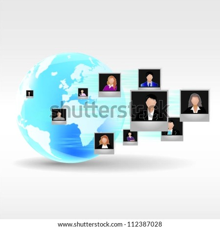 Template of a group of business and office people with globe. Vector illustration. - stock vector