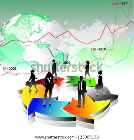 Template of a group of business and office people with world map. Vector illustration - stock vector