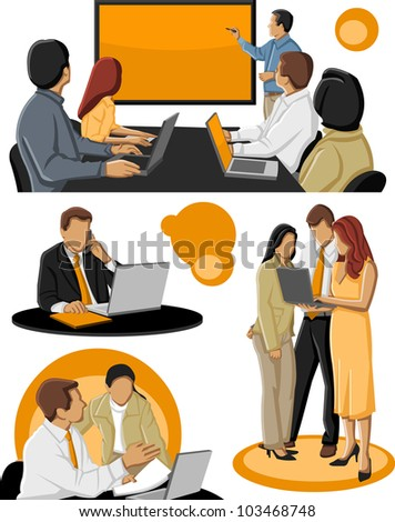 Template of a group of business people - stock vector