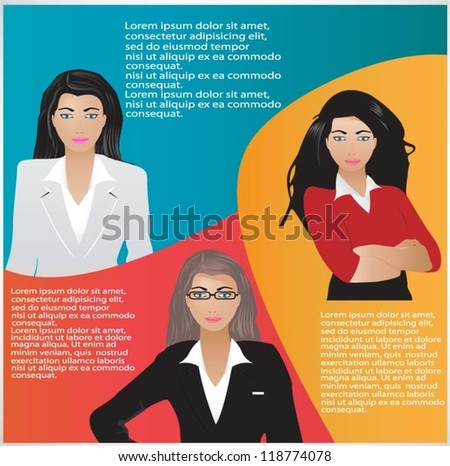 Template of a group of businesswomen with speech bubbles. Vector illustration - stock vector