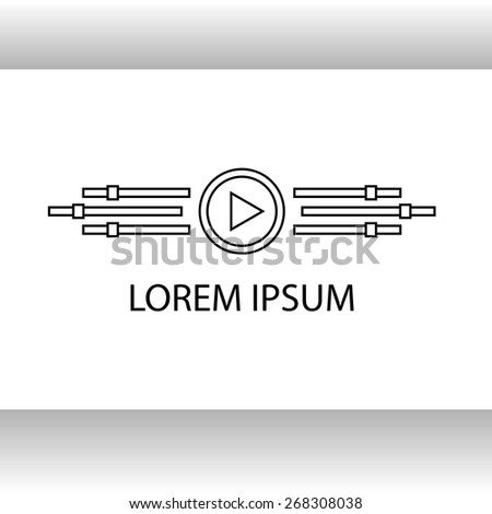 Template of a logo of video of studio, sound recording. The logo is associated with a bird, wings it is video, paths, the buttom with an arrow reminds a beak. - stock vector