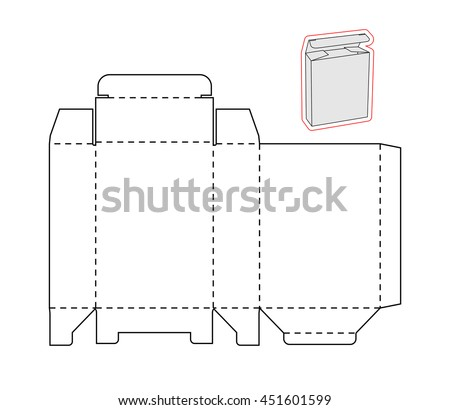 Template Simple Box Cut Out Paper Stock Vector 451601599