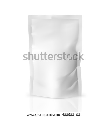 Template of blank doy pack bag. Vector illustration isolated on white background. Ready for your design.