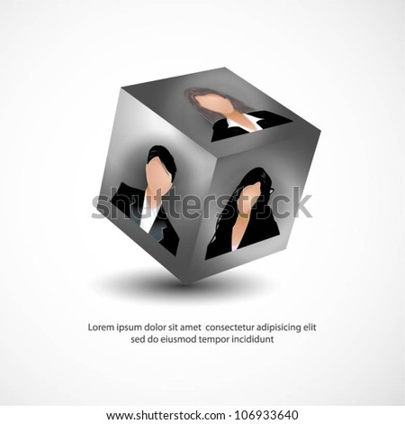 Template of business and office people on a 3d cube. Vector illustration. - stock vector
