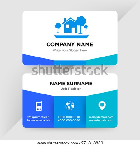 Template business card architecture construction services stock template of business card for architecture construction services company with blue home tree vector colourmoves Images