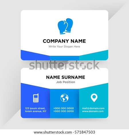 Template business card box sport club stock vector 571847503 template of business card for box sport club trainer services company with blue boxing glove fbccfo Choice Image